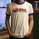 SUWA Short Sleeve Retro T-Shirt in White/Blue  (Fitted)