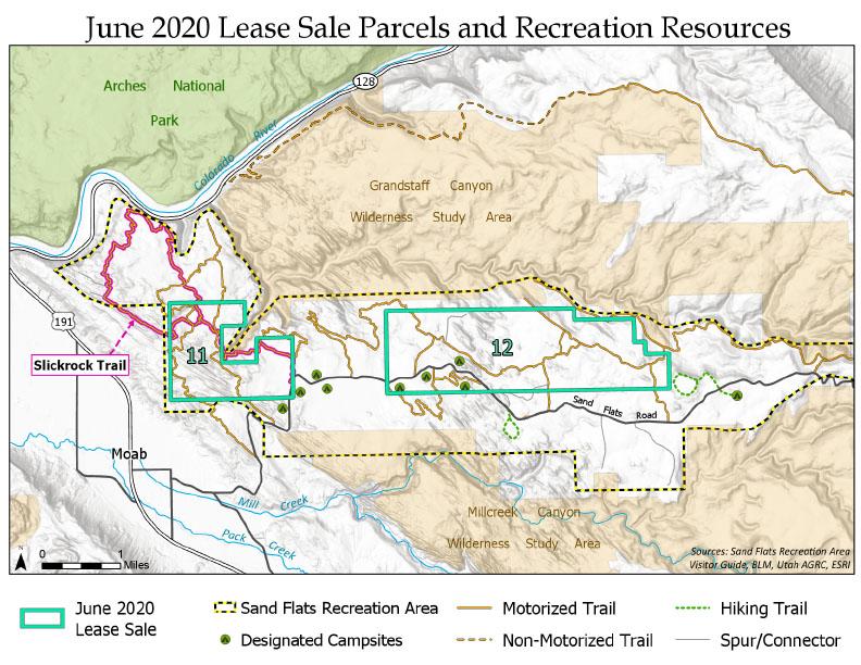 Map: Sand Flats June 2020 Lease Sale Parcels